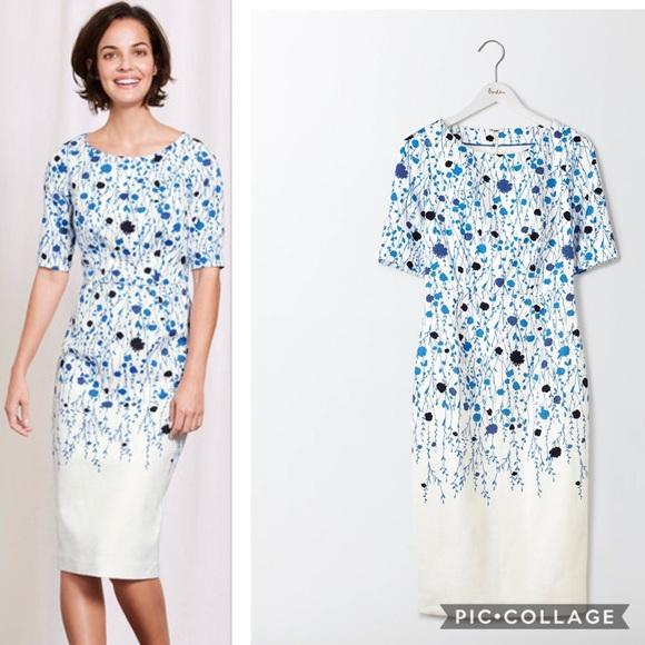 86b80a7246a Boden Dresses   Skirts - British Boden White Blue Floral Cotton Dress US 18